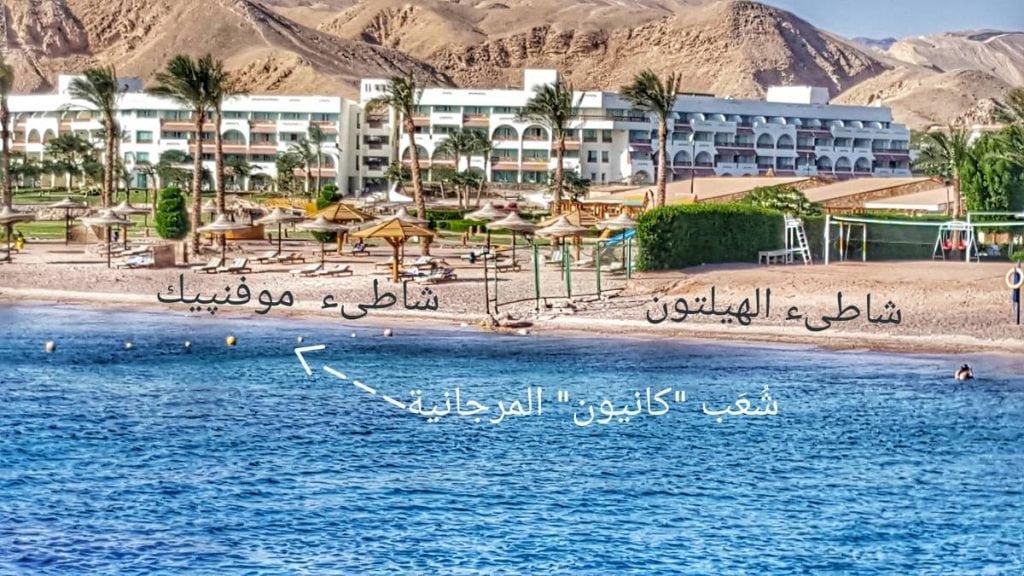 صورة توضيحية للمكان. يمكن تمييز المكان من خلال السياج الفاصل بين الفندقين والحبل الممدود على سطح الماء